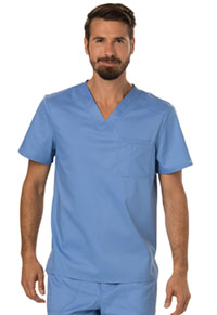 Cherokee Workwear Men's V-Neck Top Ciel Blue (WW690-CIE)