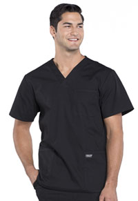 Workwear WW Professionals Men's V-Neck Top (WW695-BLK) (WW695-BLK)