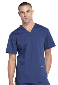 WW Professionals Men's V-Neck Top (WW695-NAV) (WW695-NAV)