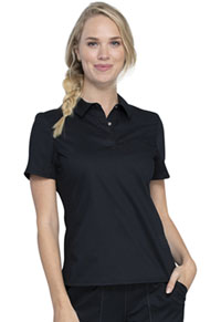 Cherokee Workwear Snap Front Polo Shirt Black (WW698-BLK)