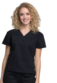 Cherokee Workwear Mock Wrap Top Black (WW705-BLK)