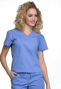 Cherokee Workwear Mock Wrap Top Ciel Blue (WW705-CIE)