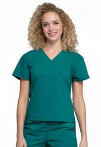 Cherokee Workwear Mock Wrap Top Hunter Green (WW705-HUN)