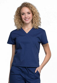 Cherokee Workwear Mock Wrap Top Navy (WW705-NAV)