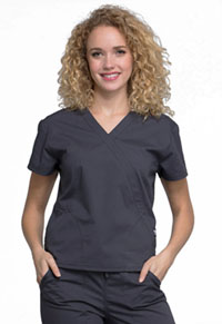 Cherokee Workwear Mock Wrap Top Pewter (WW705-PWT)