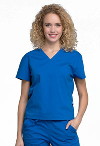Cherokee Workwear Mock Wrap Top Royal (WW705-ROY)