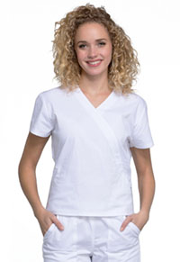 Cherokee Workwear Mock Wrap Top White (WW705-WHT)