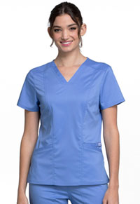 Cherokee Workwear V-Neck Top Ciel Blue (WW710-CIE)