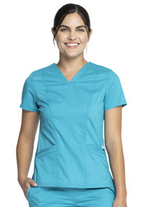 Cherokee Workwear V-Neck Top Teal Blue (WW710-TLB)