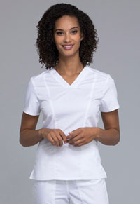 Cherokee Workwear V-Neck Top White (WW710-WHT)
