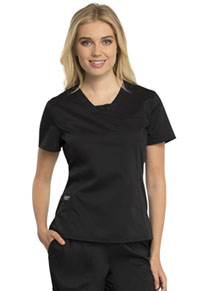 Cherokee Workwear V-Neck Top Black (WW735-BLK)