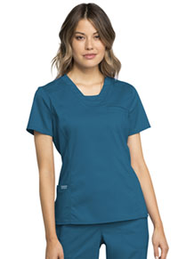 Cherokee Workwear V-Neck Top Caribbean Blue (WW735-CAR)