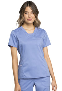 Cherokee Workwear V-Neck Top Ciel Blue (WW735-CIE)
