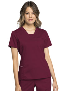 Cherokee Workwear V-Neck Top Wine (WW735-WIN)