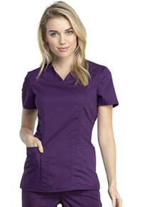 Cherokee Workwear V-Neck Top Eggplant (WW741AB-EGG)