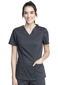Cherokee Workwear V-Neck Top Pewter (WW741AB-PWT)