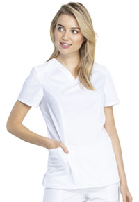 Cherokee Workwear V-Neck Top White (WW741AB-WHT)