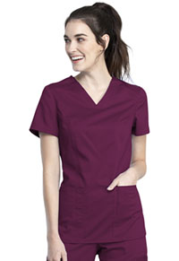 Cherokee Workwear V-Neck Top Wine (WW741AB-WIN)