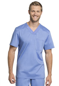 Cherokee Workwear Men's Tuckable V-Neck Top Ciel Blue (WW755AB-CIE)