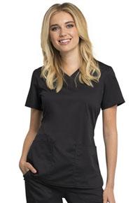 Cherokee Workwear V-Neck Top Black (WW770AB-BLK)