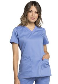 Cherokee Workwear V-Neck Top Ciel Blue (WW770AB-CIE)