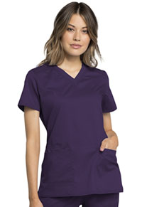 Cherokee Workwear V-Neck Top Eggplant (WW770AB-EGG)