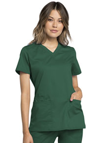 Cherokee Workwear V-Neck Top Hunter Green (WW770AB-HUN)
