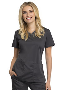 Cherokee Workwear V-Neck Top Pewter (WW770AB-PWT)