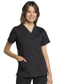 Cherokee Workwear Mock Wrap Top Black (WW775AB-BLK)