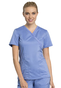 Cherokee Workwear Mock Wrap Top Ciel Blue (WW775AB-CIE)