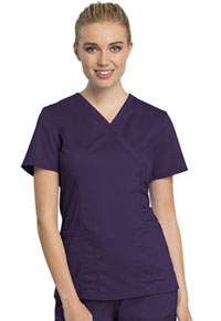 Cherokee Workwear Mock Wrap Top Eggplant (WW775AB-EGG)