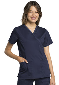 Cherokee Workwear Mock Wrap Top Navy (WW775AB-NAV)