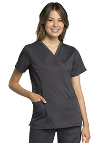 Cherokee Workwear Mock Wrap Top Pewter (WW775AB-PWT)