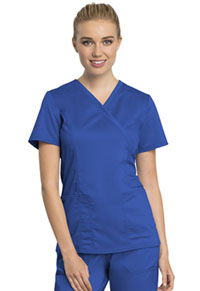 Cherokee Workwear Mock Wrap Top Royal (WW775AB-ROY)