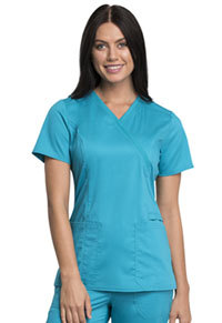 Cherokee Workwear Mock Wrap Top Teal Blue (WW775AB-TLB)