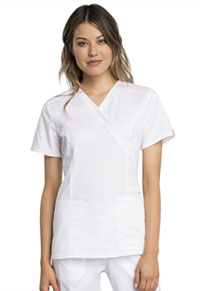 Cherokee Workwear Mock Wrap Top White (WW775AB-WHT)