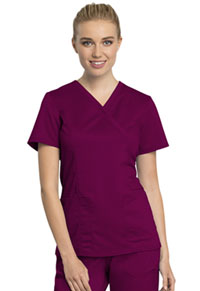Cherokee Workwear Mock Wrap Top Wine (WW775AB-WIN)