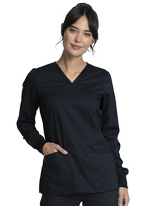 Cherokee Workwear Long Sleeve V-Neck Top Black (WW855AB-BLK)