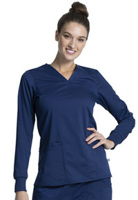 Cherokee Workwear Long Sleeve V-Neck Top Navy (WW855AB-NAV)
