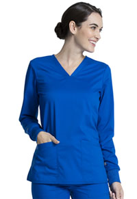 Cherokee Workwear Long Sleeve V-Neck Top Royal (WW855AB-ROY)