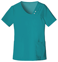 Cherokee Crossover V-Neck Pin-Tuck Top Teal (1999-TEAV)