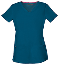 HeartSoul Break on Through Shaped V-Neck Top in Caribbean Blue (20710-CABH)