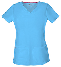HeartSoul Break on Through Shaped V-Neck Top in Turquoise (20710-TURH)