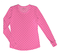 Long Sleeve Underscrub Knit Tee Let's Polka Dot Pink Party (20801-LEPI)