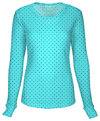 HeartSoul Long Sleeve Underscrub Knit Tee Never-ending Love Turquoise (20801-NEVT)