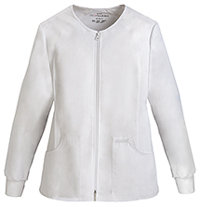 Zip Front Knit Panel Warm-Up Jacket (2306-WHTS)