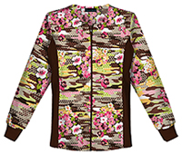 Cherokee Zip Front Knit Panel Warm-Up Jacket Camo Flora (2315C-CAFO)