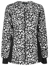 Cherokee Zip Front Knit Panel Warm-Up Jacket Etched Leopard Black (2315C-ETBK)