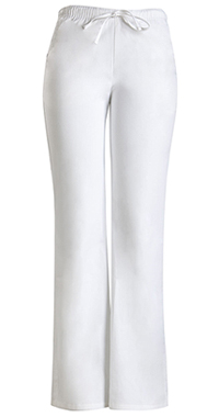 Cherokee Workwear Low Rise Moderate Flare Drawstring Pant White (24002P-WHTW)