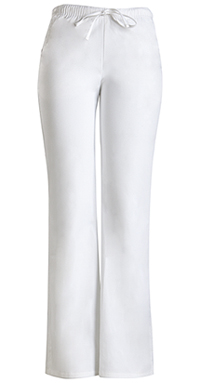 Cherokee Workwear Low Rise Moderate Flare Drawstring Pant White (24002-WHTW)